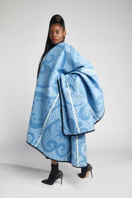Heritage Blanket Scarf - Jordy Blue Spiral Aloe - muntu - themuntu.com