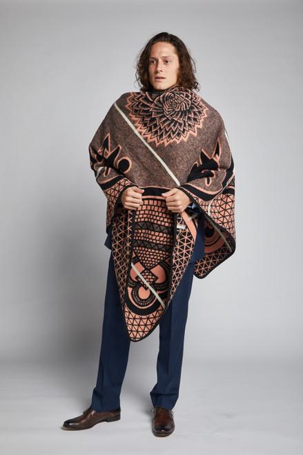 Heritage Blanket Scarf - Salmon Spiral Aloe - muntu - themuntu.com