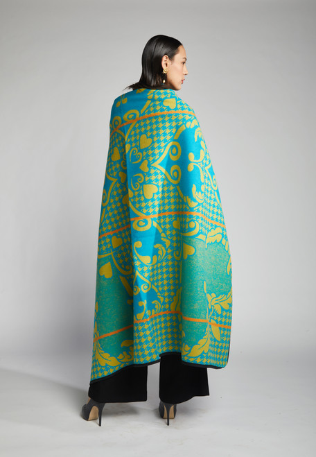 Heritage Blanket Scarf - Turquoise Mustard Heart - muntu - themuntu.com