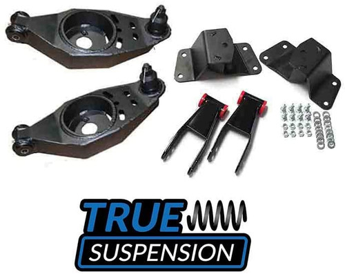 """Compatible with Dodge D150 D100 70-93 Ram Pickup Truck Complete Mopar Series Lowering Kit 3"""" Front Lowering Fabricated Control Arms - Rear 4"""" Lowering Shackle & Hanger Combo Drop Kit 2wd"""