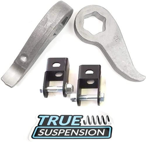 "Compatible with Chevrolet GMC Silverado Sierra 2500 3500 HD 1Ton Pickup Truck 11-20 Leveling Lift kit Front Adjustable 1-3"" Torsion Keys + Front Shock Extenders 2wd"