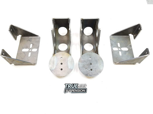 Rear Universal Air Ride Suspension Weld-on Axle Brackets with 2600 Series Air Springs Kit Drop Low for 4 Link Set-up