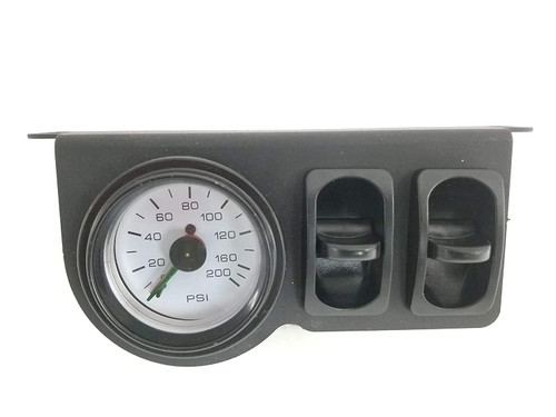 """Universal Towing Assist Helper Air Ride Suspension Control Panel 150 Psi Gauge Dual Paddle Switch 1/4"""" airhose White Face Rnd"""