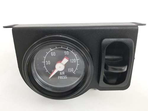 """Universal Towing Assist Helper Air Ride Suspension Control Panel 150 Psi Gauge Single Paddle Switch 1/4"""" airhose Black Face Rnd"""