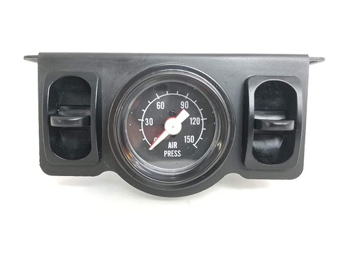 """Universal Towing Assist Helper Air Ride Suspension Control Panel 150 Psi Gauge Dual Paddle Switch 1/4"""" airhose Black Face Rnd Side"""