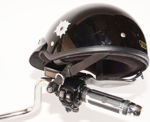 Lidlox Helmet Lock for Harley Davidsons.  Clean design, easy to install, easy to use motorcycle helmet lock.