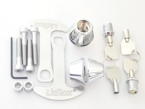 2004-C, Lidlox Helmet Lock Pair for Metric Motorcycles, Chrome.