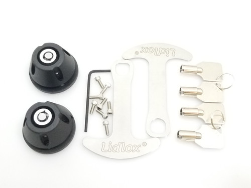 1032-B, Lidlox Helmet Lock Pair for Kuryakyn Grips, Black.