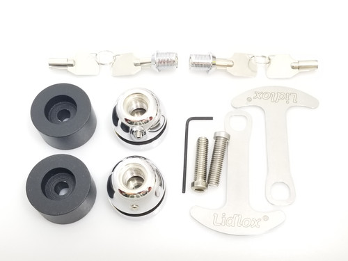 1008-BC Lidlox Pair for BMW, Black Spacer, Chrome Lock