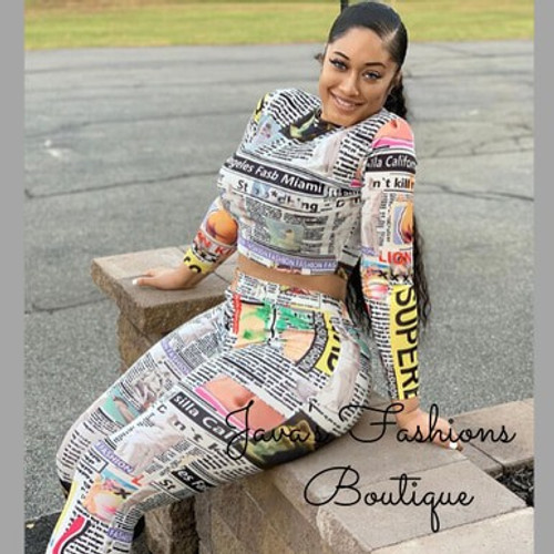 Newspaper Print Two Piece Set