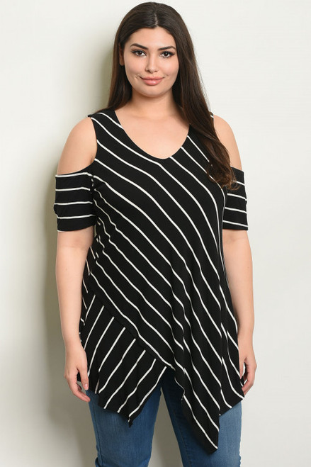Jessica Stripped Cold Shoulder Tunic