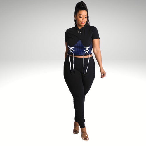 Living It Lace Up Corset Pant Set