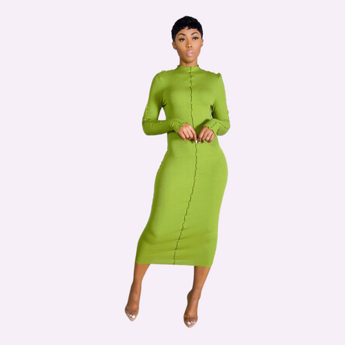 Green Casual ribbed midi dress