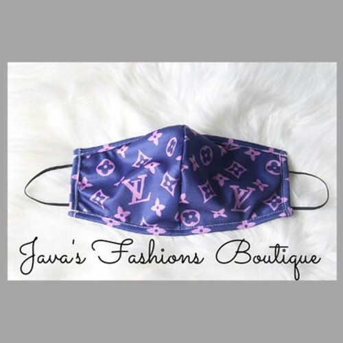 LV Inspired Navy/Pink Face Mask