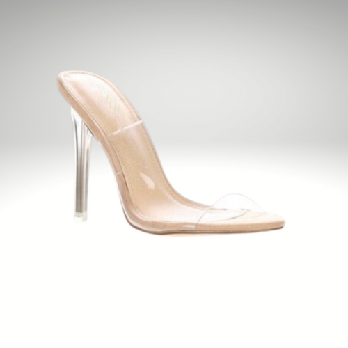 Clear Peep Toe High Heel Mule