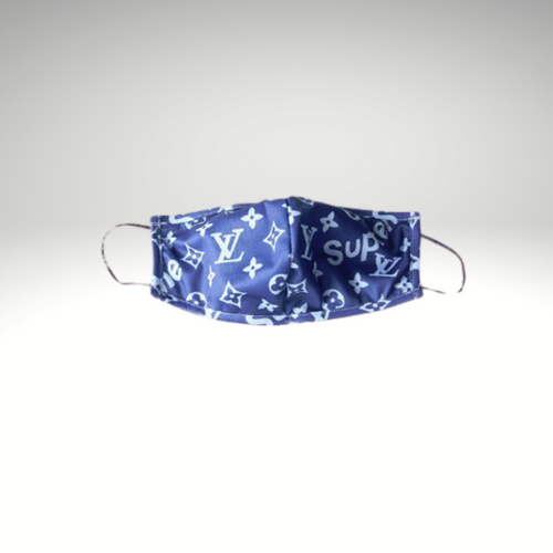 LV Inspired Blue Supreme Face Mask