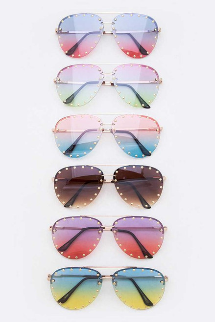 Studded Aviator Tint Sunglasses