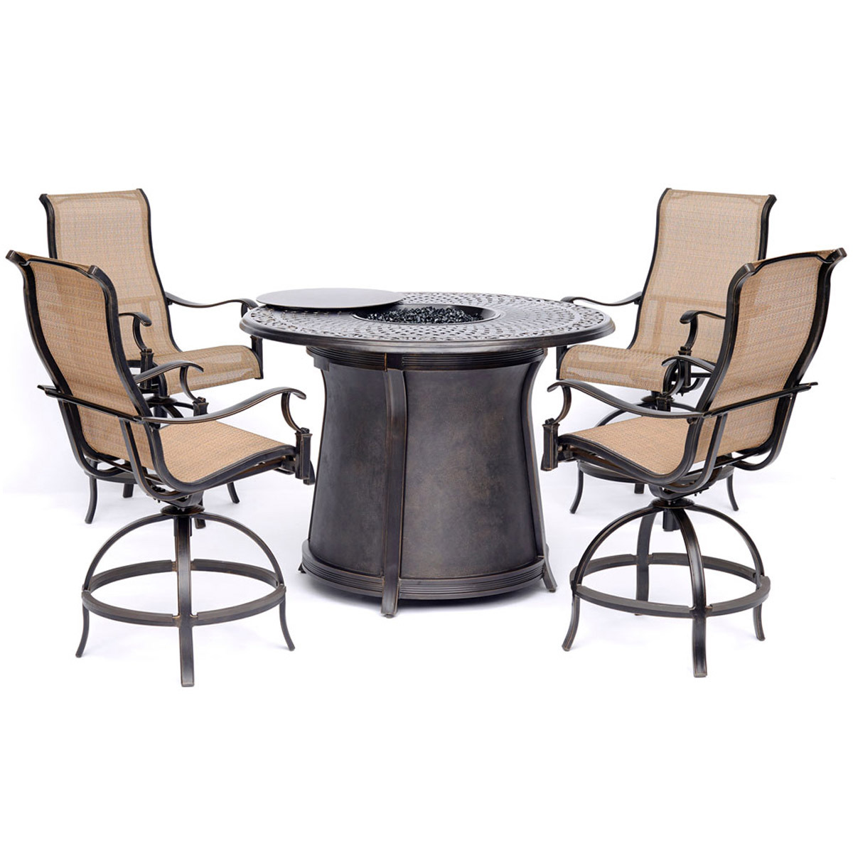 Manor 5 Piece High Dining Set In Tan With 4 Swivel Chairs And A 40 000 Btu Cast Top Fire Pit Table