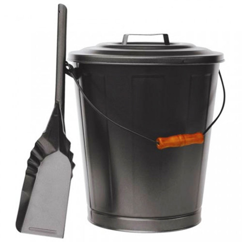 Olde World Iron Ash Bin with Lid and Shovel