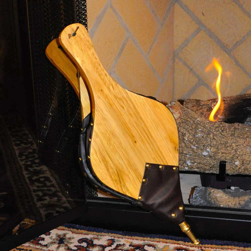 19'' Oversized Hand Carved Fireplace Bellows