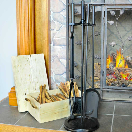 5 Piece Black Wrought Iron Fireplace Tool Set - F-1070