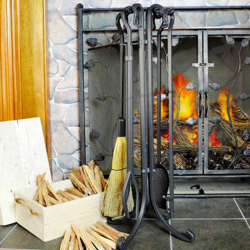 5 Piece Olde World Iron Fireplace Tool Set with Crook Handles - F-1181