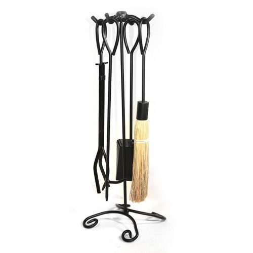 5 Piece Black Ring Handled Fireplace Tool Set