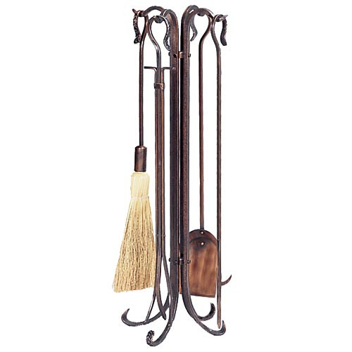 5 Piece Hammered Burnished Copper Crook Fireplace Tool Set - F-1266