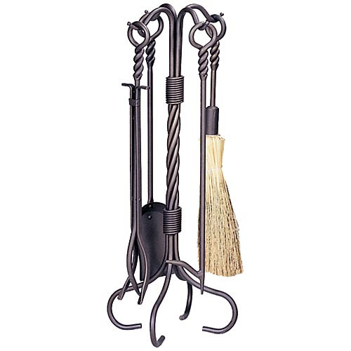 5 Piece Bronze Fireplace Tool Set with Ring & Swirl Handles - F-1643
