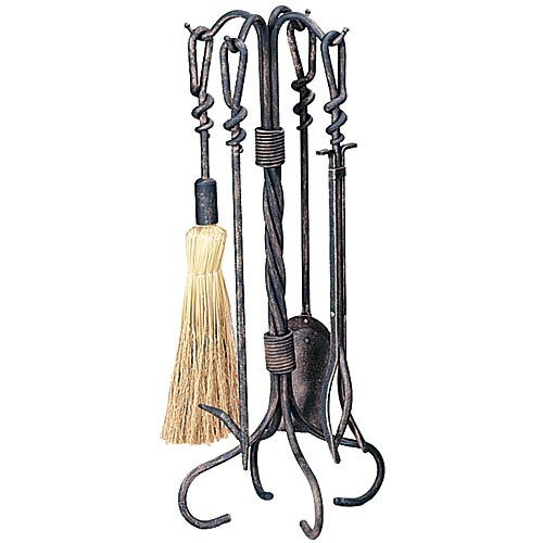 5 Piece Wrought Iron Antique Rust Fireplace Tool Set - F-1695