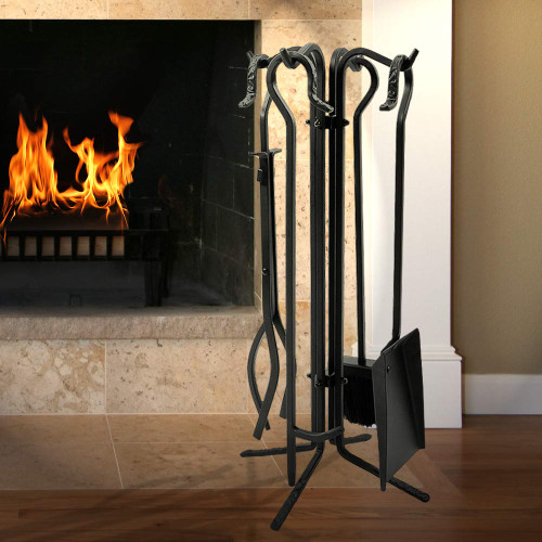 5 Piece Black Wrought Iron Tool Set with Crook Handles - F-T18070BK