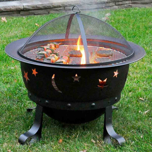 30'' Deep Bronze Stars and Moons Firepit