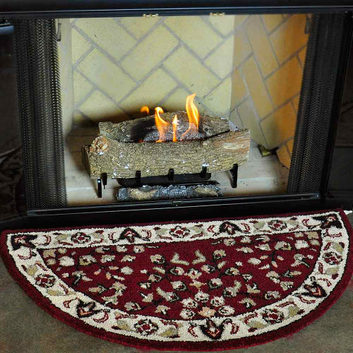 44'' Red with Beige Hand Tufted Wool Hearth Rug
