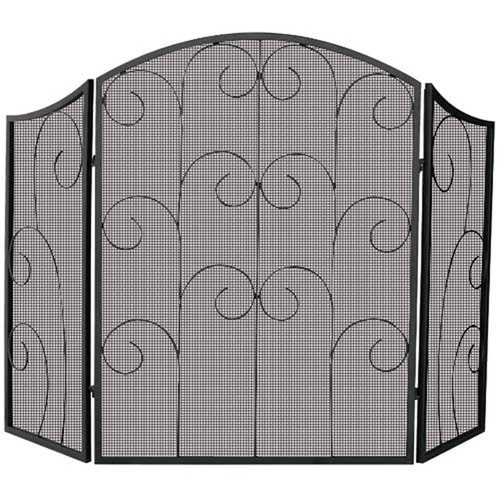 3 Panel Black Wrought Iron Fireplace Scr