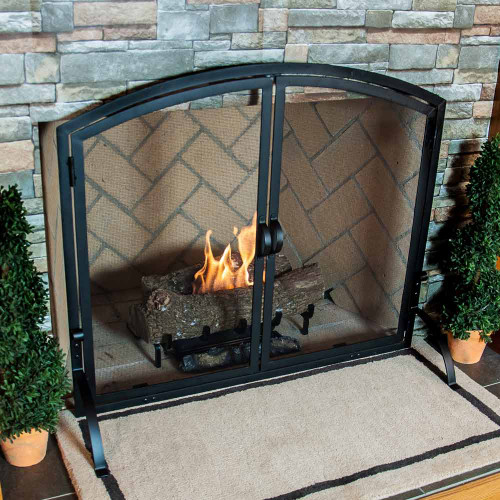 Medium Single Panel Black Wrought Iron Fireplace Screen with Doors