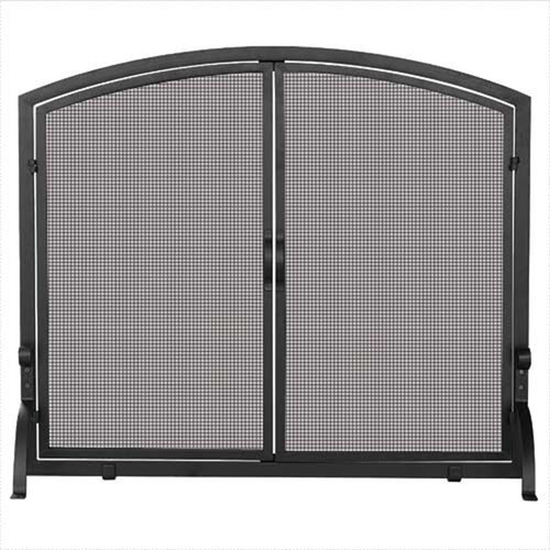 Large Single Panel Black Wrought Iron Screen with Doors