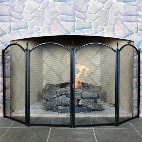 4 Fold Mini Fireplace Screen- Black