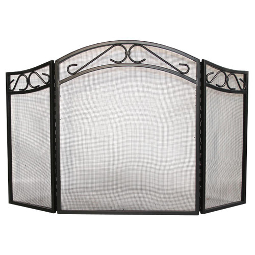 3 Fold Wrought Iron Scroll Fireplace Screen - Black