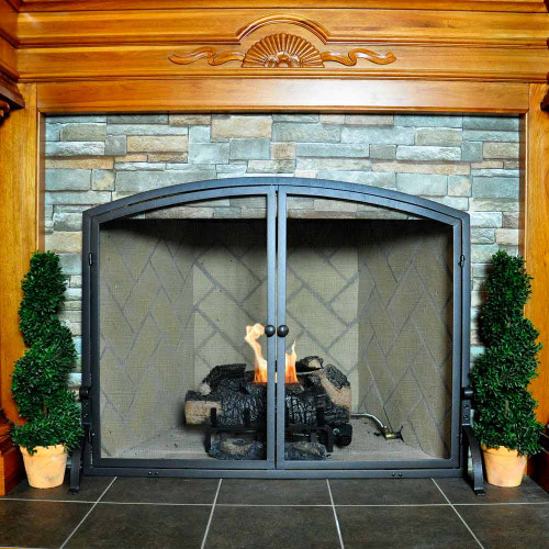 Large Single Panel Olde World Iron Fireplace Screen with Doors 44'' Wide x 34'' High