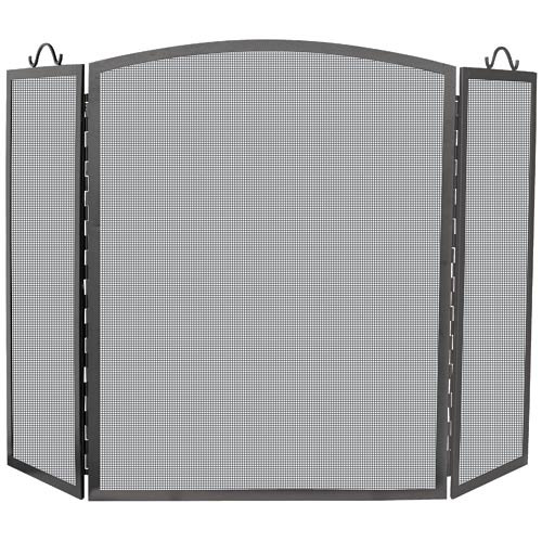 Large 3 Panel Olde World Arch Top Iron Fireplace Screen
