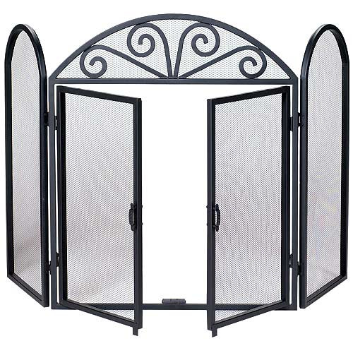 3 Fold Wrought Iron Fireplace Screen- Black