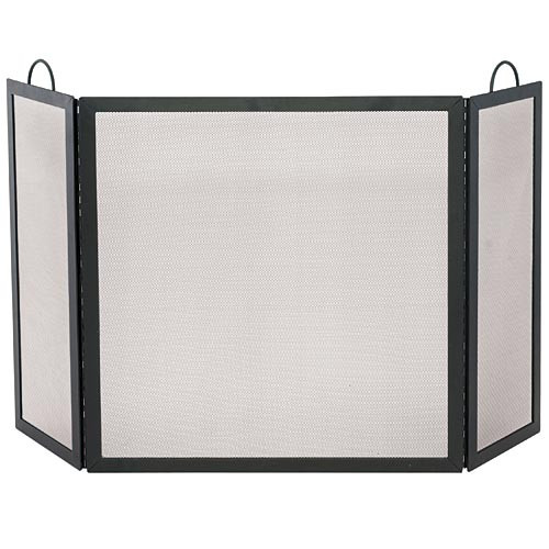 3 Fold Wrought Iron Medium Fireplace Screen - Black