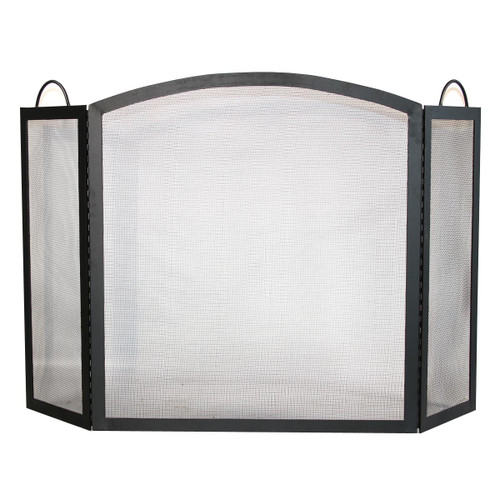 3 Fold Wrought Iron Fireplace Screen with Arch Top - Black