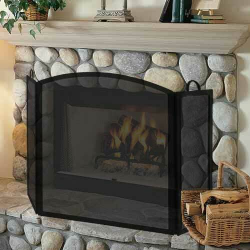 3 Fold Large Wrought Iron Fireplace Screen - Black