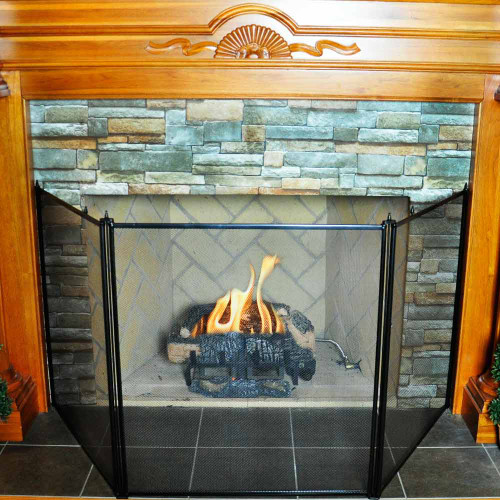 3 Fold Oversized Stove Fireplace Screen- Black