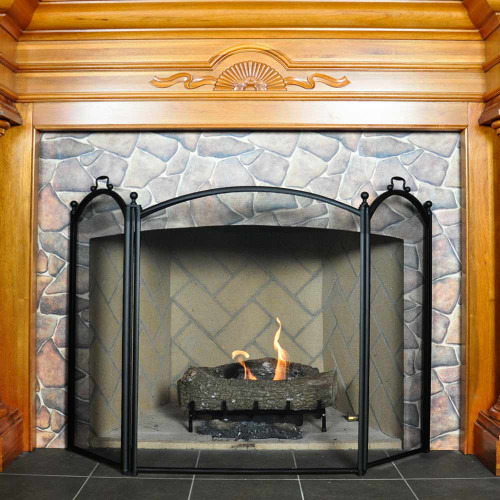 3 Fold Large Diameter Fireplace Screen - Black