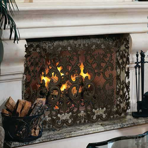 4 Fold Cast Aluminum Fireplace Screen -