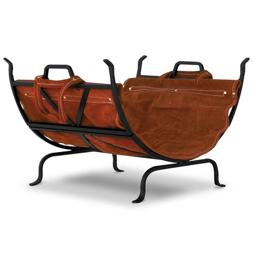 Black Wrought Iron Log Holder with Leather Log Carrier