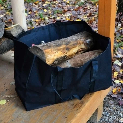 Square Canvas Firewood Carrier with Sides - Black