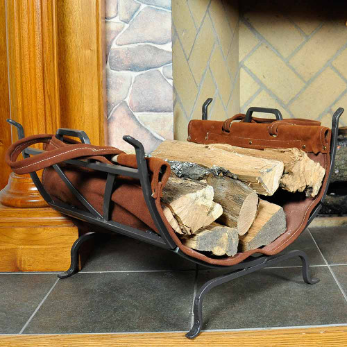 Olde World Iron Log Holder with Suede Leather Carrier